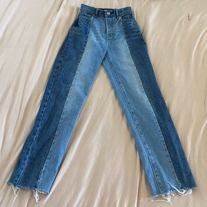 two toned straight mom jeans